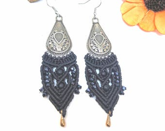 Macrame Bohemian Earrings . Silver Boho Tribal Gipsy Bellydance Earrings. Hippie Chic.  Gift for her