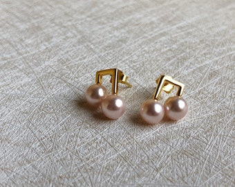 Musical Note Earrings,Pink Pearls,Jewelry  Dangle Earrings ,Wedding Jewelry,Bridal Earrings,very simple, implicit, elegant