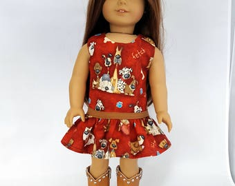"Puppy dog dress fits 18"" dolls such as American Girl"