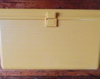 Large Sewing Box, Vintage Yellow Sewing Box, Plastic Sewing Box