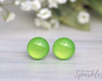 Light Green stud earrings, Apple Green Studs, Minimalist studs, Titanium Earrings, Gift for best friend, Daughter Gift, Green lover gift
