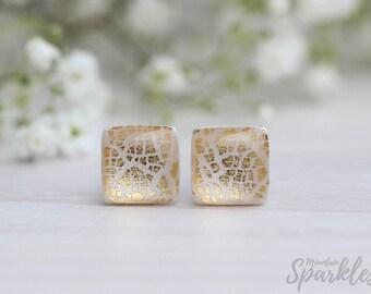 Square Beige Gold Stud Earrings, Minimalist Square Earrings, Simple Earrings Champagne, Geometric Earrings, Bridesmaids earrings, Ivory gift