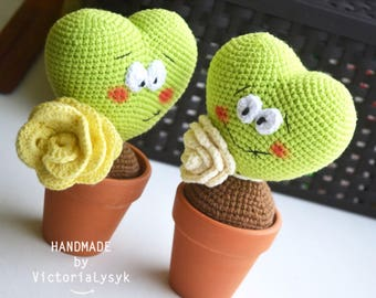 Crochet cactus Amigurumi toy Valentines day Art toy