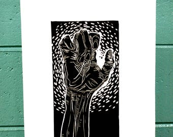 "Linoleum Cut Printmaking Hands ""Stretch"""