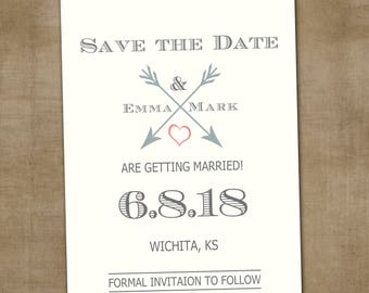Save the Date Announcement, Save the Date Magnet, Save the Date Postcard, Arrow and Heart Save the Date Announcement