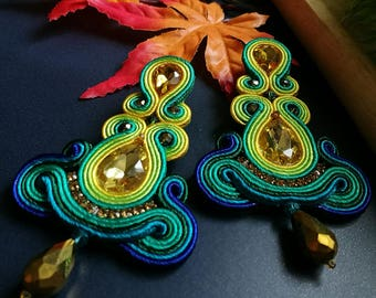 Soutache Earrings Statement Elegant Dangle Drop Earrings Yellow Crystal Blue and Green Earring