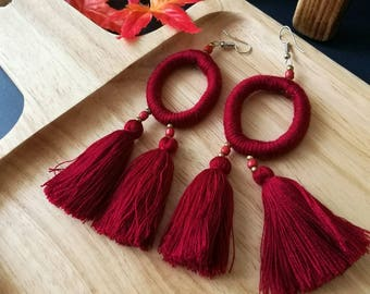 Handcraft Red Hoop Tribal Ethnic Earrings Statement Dangle Drop Gypsy Boho Chic Tassel Wedding Earrings