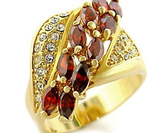 Ring - ref0c411-gold plated - set with garnets and white cz