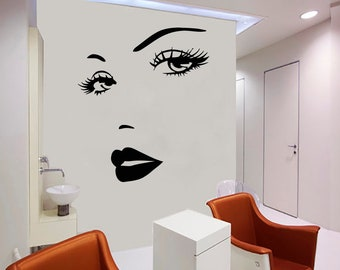 Wall Decal Window Sticker Beauty Salon Woman Face Eyelashes Lashes Eyebrows Brows t670