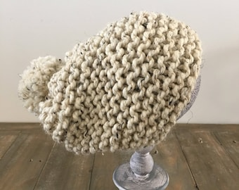 Slouchy pom, chunky knit hat- THE KARLAH