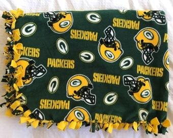 Green Bay Packers Fleece Tie Blanket | Packers Fleece Tie Blanket | NFL Fleece Blanket | Double Sided Green Bay Packers Blanket
