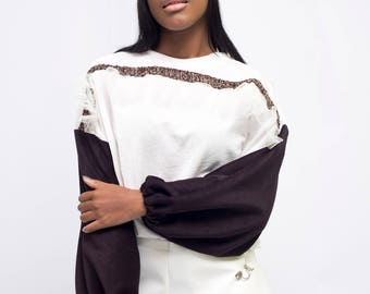 White and eggplant color velvet sweatshirt with tule