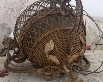 Antique Victorian Barbola Gess Wicker Basket Light fixture Chandelier With Gesso  Roses Gold Unusual