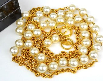 "CHANEL Goldtone Faux Pearl 33"" Long Chain Double Strand Necklace +Box"