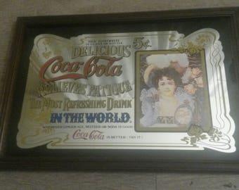 grand panneau publicitaire de bar vintage coca cola ann es 70. Black Bedroom Furniture Sets. Home Design Ideas