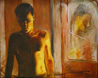 "Large oil painting - ""Mirrorlight"" - young shirtless man looking in mirror - 30"" x 24"""