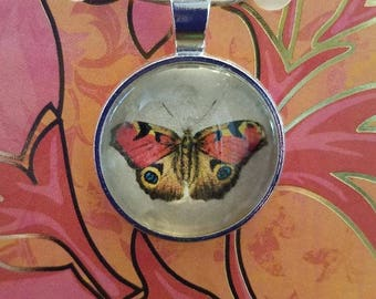 Red-Orange & Yellow Butterfly Glass Pendant