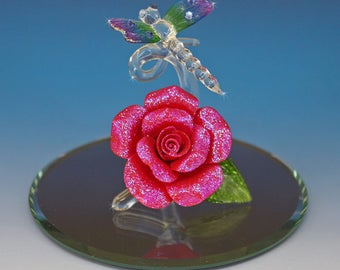 Handmade Glass Dragonfly on a Red and Glitter Porcelain Rose