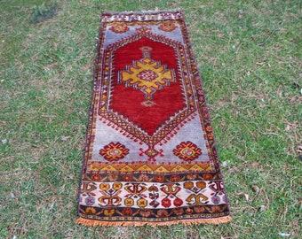 handknotted wool rug, turkish runner rug, 2.3 x 6.2 ft. oriental rug, oushak rug, bohemian rug, aztec rug, pastel color rug, MB414