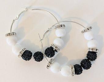 Silver / black bling hoop earrings - handmade hoop earrings - party/birthday/wedding jewellery - gifts