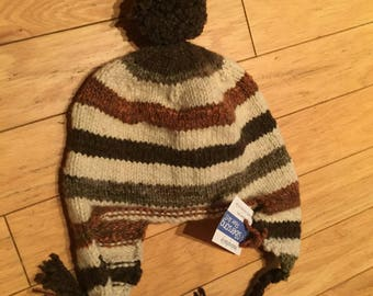 Handmade Knit Homespun Wool Women's Ear Flap Hat with Pom Pom