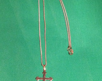 Vintage Gold Tone cross Necklace