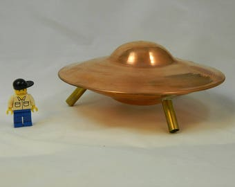 "6"" Copper UFO with Brass Legs, 3"" tall"