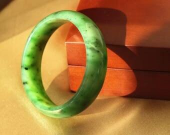 Siberian Nephrite Jade Bangle - 70MM X 17MM -  Natural Jade - Green Jade