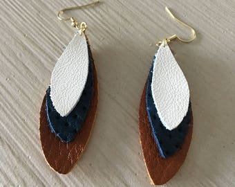 Leather stacked petal design earrings/brown, white, and blue print/lightweight statement earrings