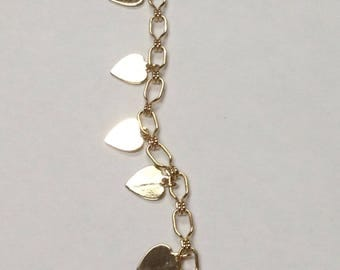 """Gold toned heart charm necklace, 29"""""""