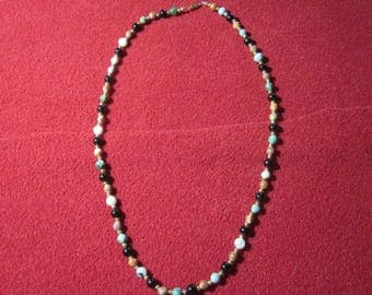 25 inch Multi-Colored Agate Round Bead Necklace