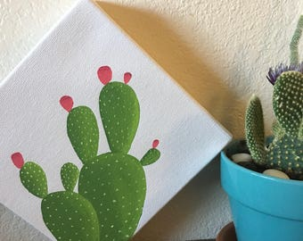 Set of Two Prickly Pear Cactus Painting