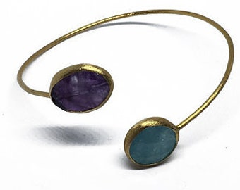 Purple-Blue Adjustable Natural Stone Bracelet