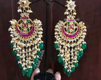 Indian kundan jewellery -Long danglers with emerld beads hanging