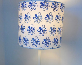 Blue and White, Hand Printed, Lampshade