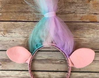 Satin inspired troll headband- trolls- children's headband