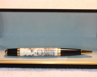 Laser Scrimshaw Train / Locomotive Pen in a Black Velour Case