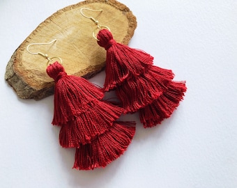3-Tier Maroon Tassel Earrings