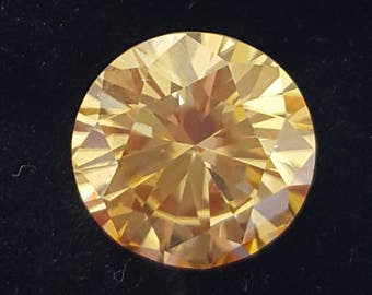 Genuine Warm Champagne Round Brilliant Moissonite 5.37 ct VS1
