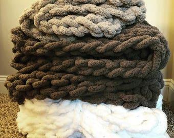 Super chunky knit blanket!