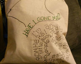 Have I Gone Mad? Alice in Wonderland Mad Hatter Quote Inspired Disney Tote Bag