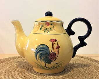 Vintage Yellow Ceramic Rooster Teapot with Removable Lid / Vintage Cottage Kitchen Teapot / Vintage Farmhouse Decor / Cracker Barrel Teapot