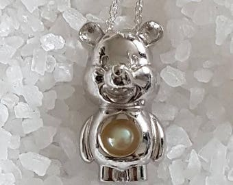 925 Sterling Silver Cute Teddy Cage Pendant for Pearl