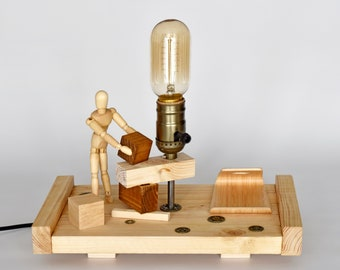 Warm light wooden lamp with mobile support