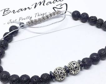 Men's bracelet with stones lava and hematite with closing at Shamballa