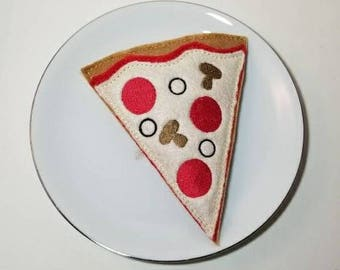Embroidered felt play food - pizza slice pretend play kitchen