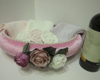 Pink Velvet Box,Oval Towel Box,Towel Storage,Bathroom Decor,Towel Basket,Mother's Day Gift,,Wedding Gift,Wedding Basket,Wedding Box