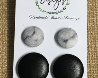Handmade Fabric Button Earrings - Marble & Black , these beauties got with any and every outfit!