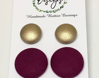 Handmade Fabric Button Earrings - Gold and Plum