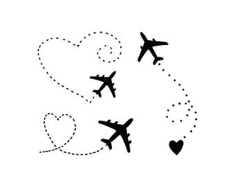 Temporary TATTOO Airplanes set, 55x70 mm size